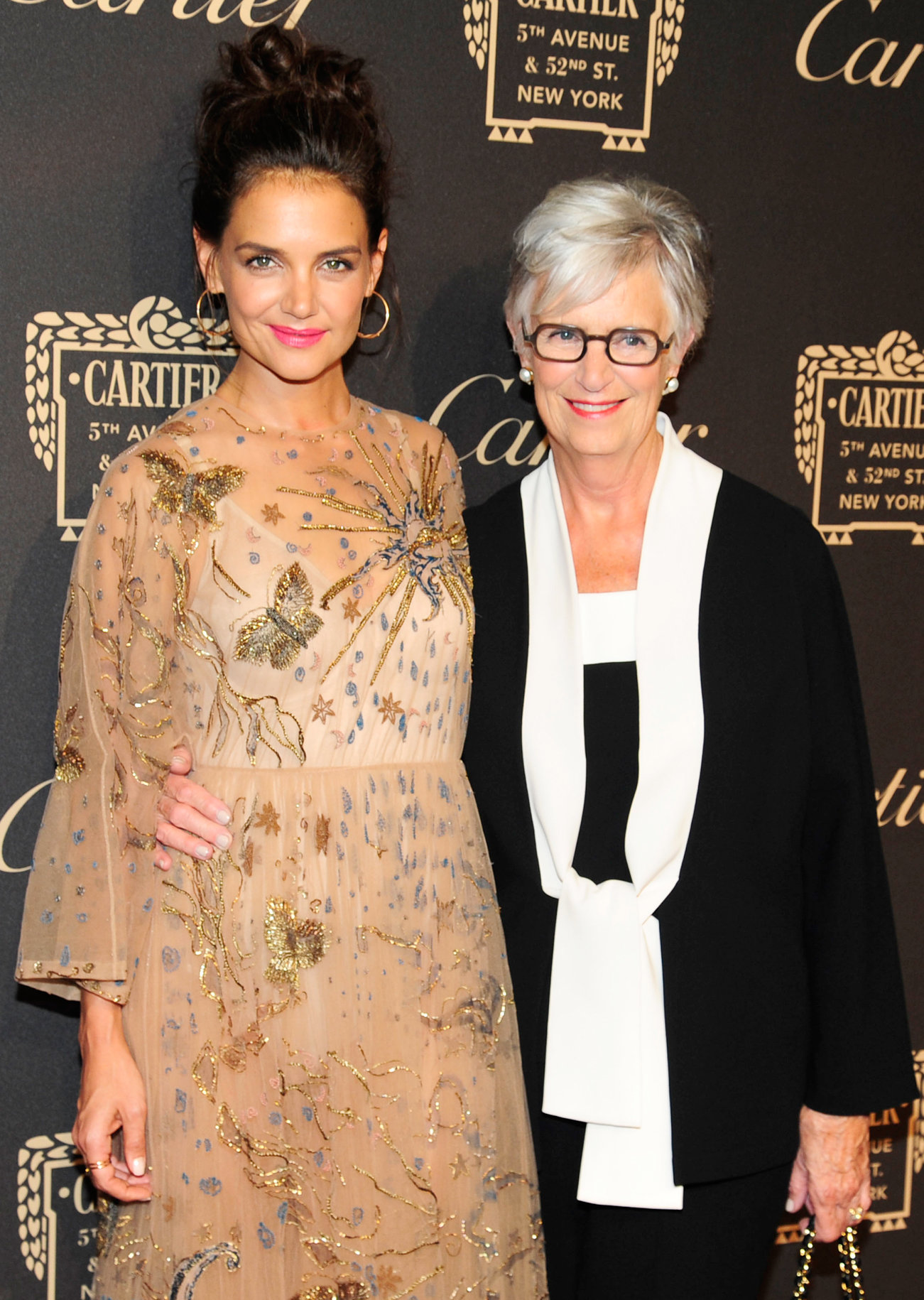 NEW YORK, NY - SEMPTEMBER 7: (L-R) Katie Holmes and Kathleen A. Stothers-Holmes attend the Cartier Fetes the Grand Opening of The Fifth Avenue Mansion at Cartier Mansion on SEPTEMBER 7, 2016 in New York City. (Photo by Paul Bruinooge/Patrick McMullan via