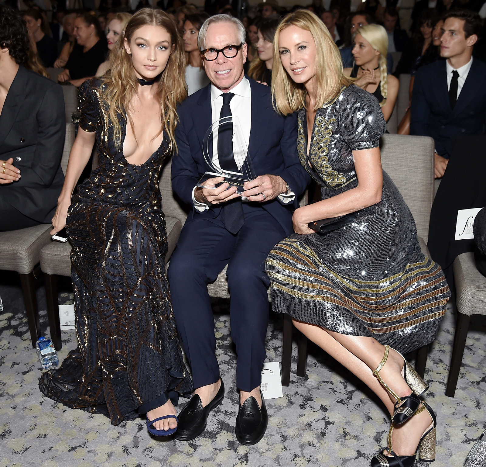Gigi Hadid, designer Tommy Hilfiger, and Dee Ocleppo Hilfiger attends the The Daily Front Row's 4th Annual Fashion Media Awards at Park Hyatt New York on September 8, 2016 in New York City
