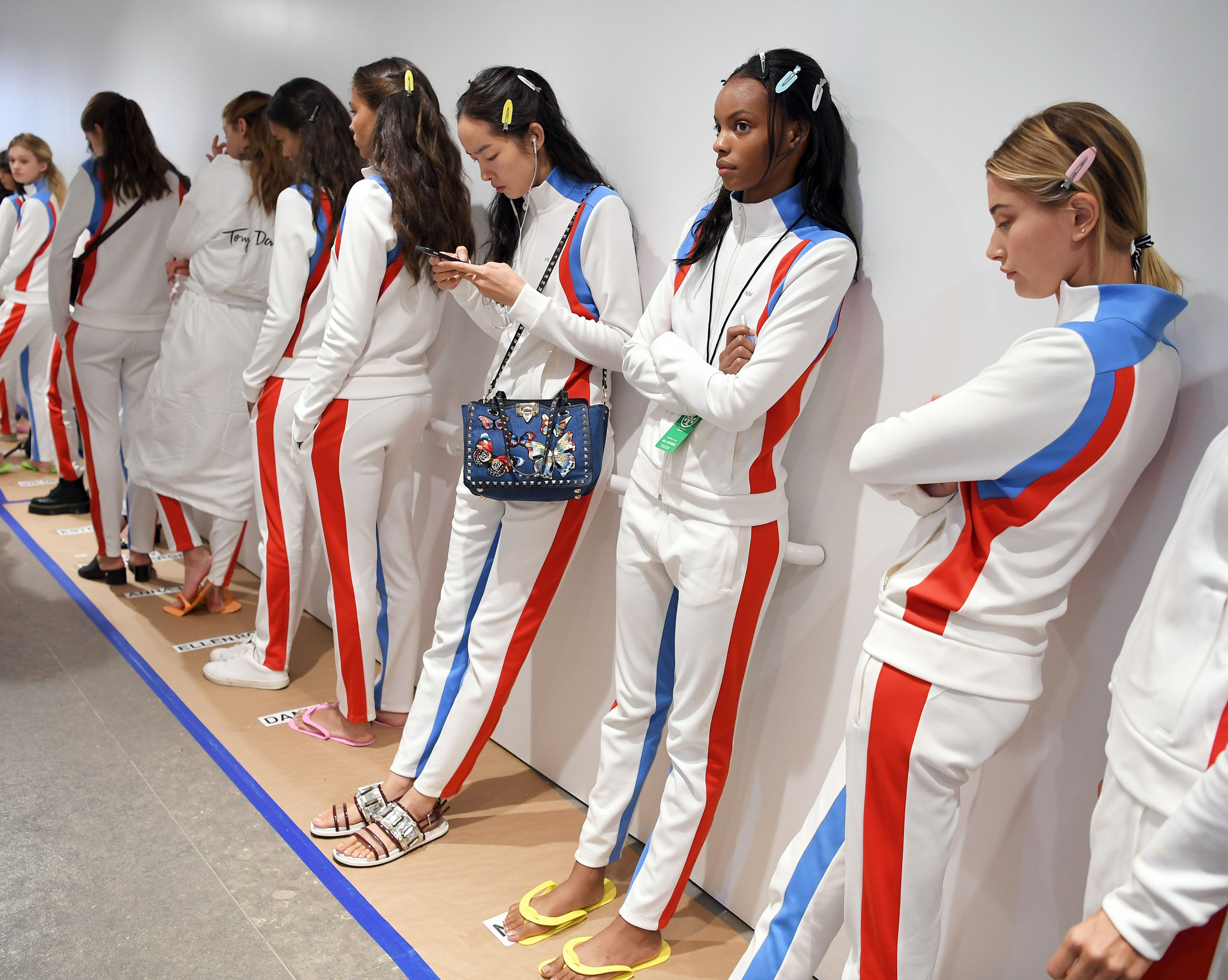 Models wait for rehearsals - Tory Burch Spring Summer 2017 - September 13, 2016
