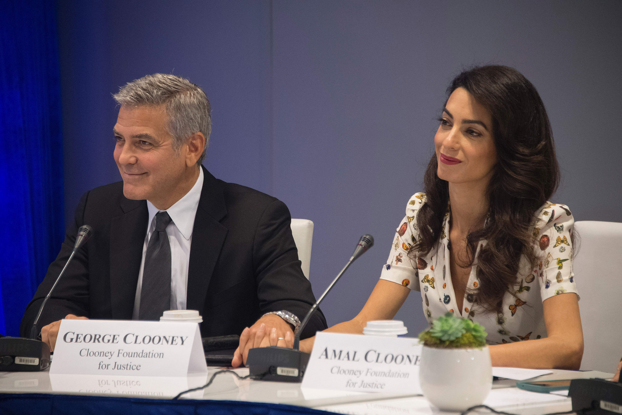 George and Amal Clooney in Butterfly Print Top at UN General