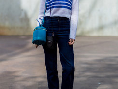 SYDNEY, AUSTRALIA - MAY 18:  Natalie Cantell wearing a red blue white striped weater and dark blue denim jeans and golden Gucci slippers outside C Meo Collective at Mercedes-Benz Fashion Week Resort 17 Collections at Carriageworks on May 18, 2016