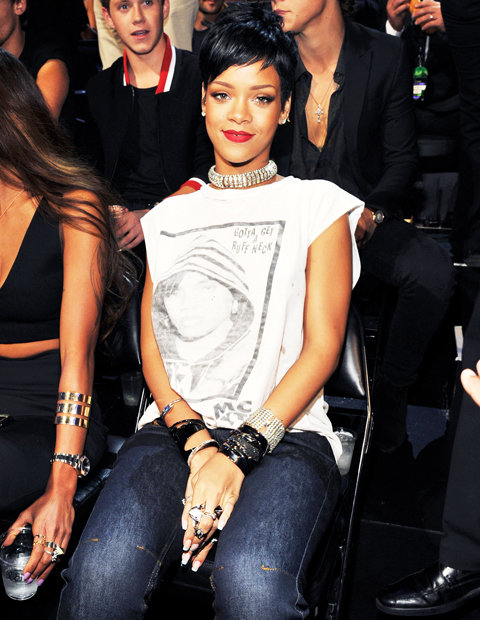 Rihanna in Lynn Ban jewelry