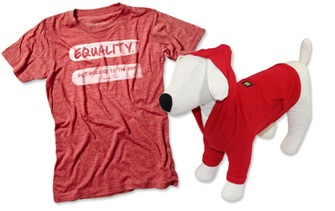 Kenneth Cole equality shirt and Human Rights Campaign dog hoodie