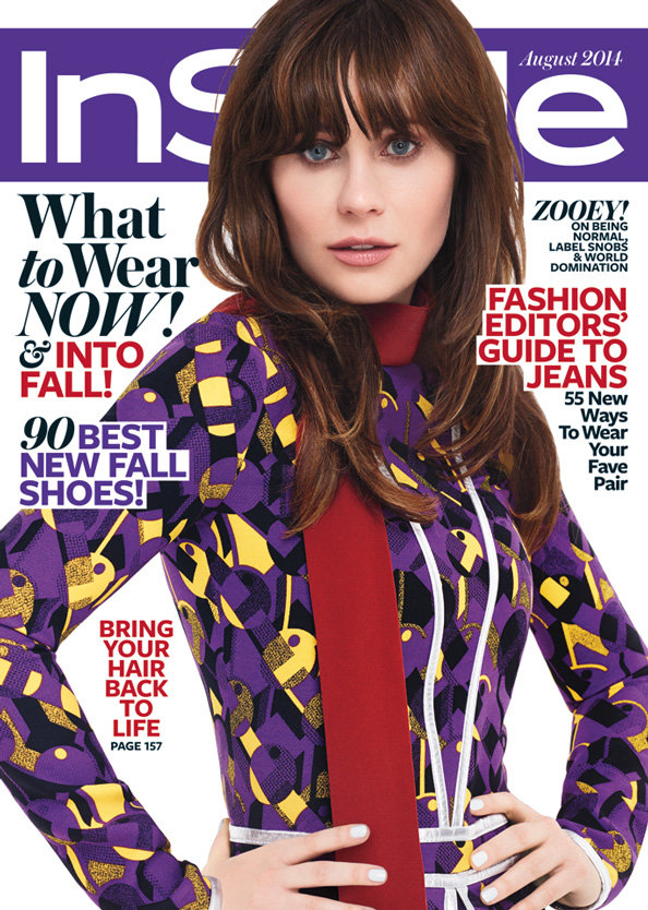 Zooey Deschanel August InStyle Cover
