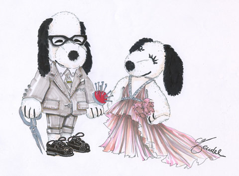 Snoopy and Belle in Fashion by J. Mendel