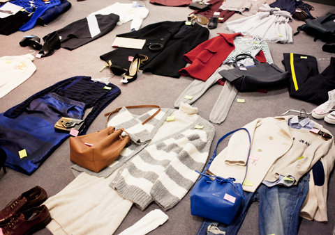 outfits laid out in the fashion closet at InStyle