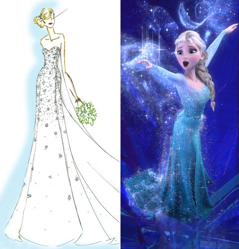 Disney Elsa Frozen Wedding Dress Sketch
