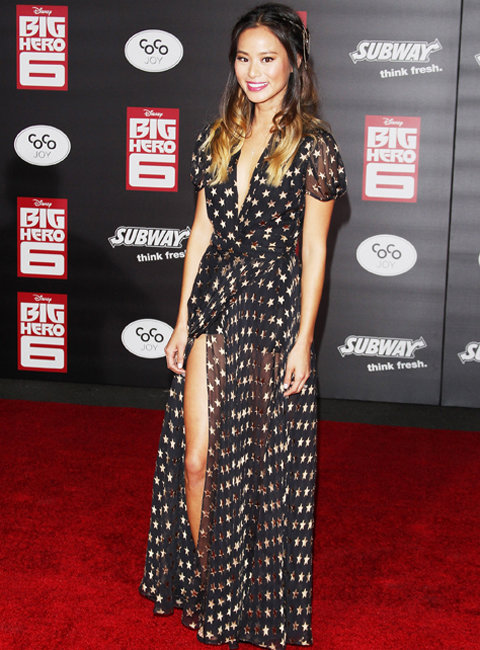 Jamie Chung Wears Hair Chain at Big Hero 6 Premiere