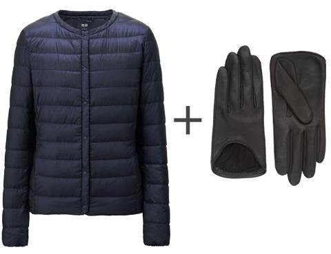 down jacket, leather gloves