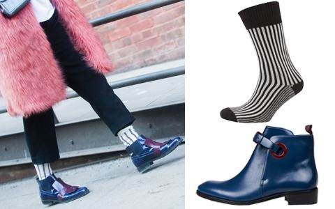 Blue Ankle Boot + Striped Sock