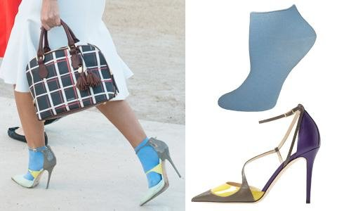 Yellow and Grey Color Blocked Heel + Anklet Sock