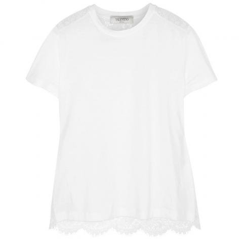 Valentino Cotton and Lace Tee