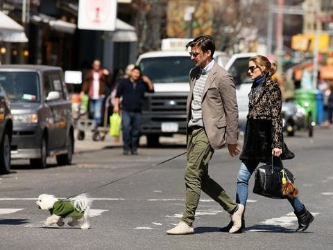 Olivia Palermo with husband Johannes Huebl and their dog, Mr. Butler.