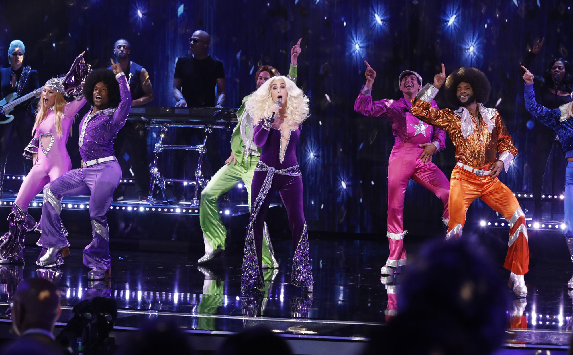Cher Wore a Super Low-Cut Jumpsuit While Performing on the America's Got Talent Finale